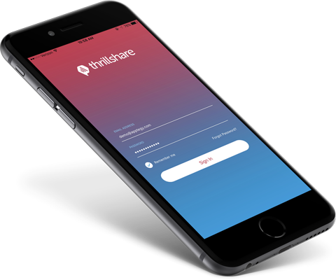 iPhone with Thrillshare mobile app solution