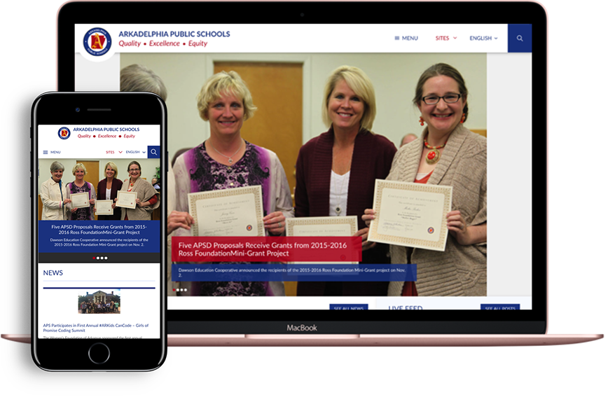 photo showing that Apptegy school websites are responsive across desktop, mobile, and tablet devices